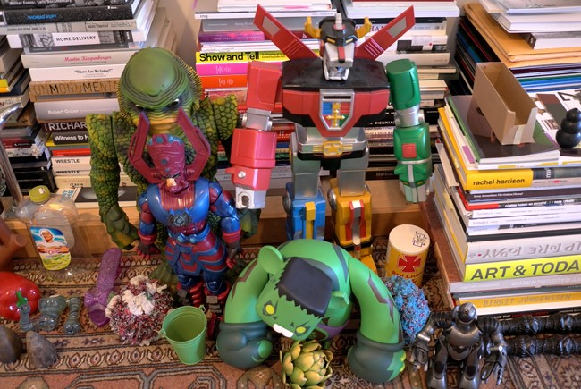 Cool toys and books, beautifully ordered