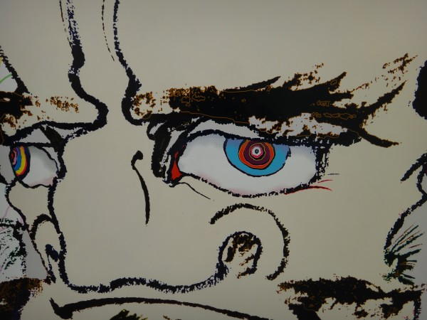 "Recognize this? It's a detail of my ""Daruma"" painting… and the eyeball in the ""What I'm Seeing"" logo."