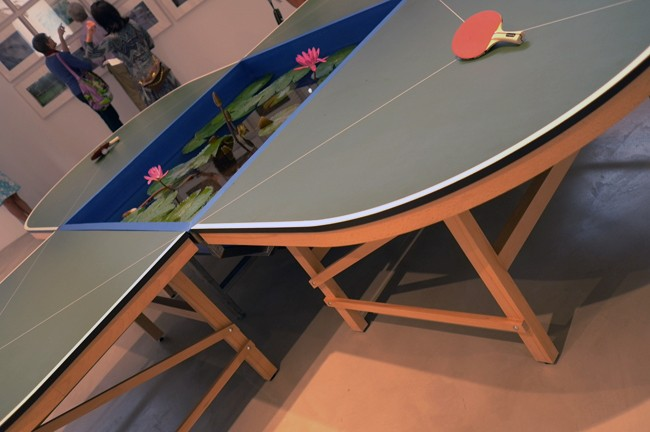 Gabriel Orozco ping-pong table doesn't work for me, what if the ball gets wet?