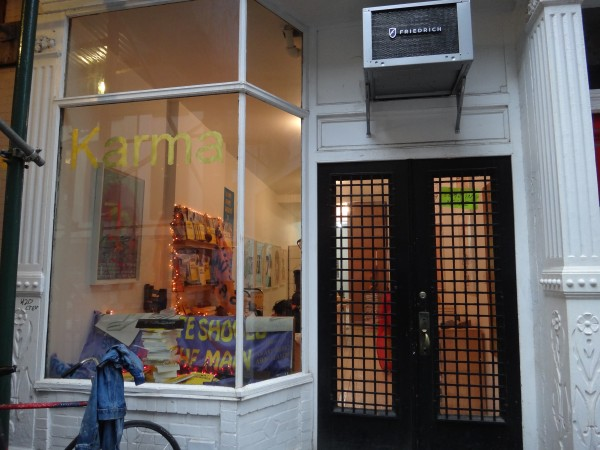 Here's the Karma bookstore, it's Brendan Dugan's space to do shows and experiment with books.