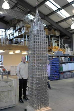 Check out the Chrysler Building, made out of old Erector Set parts he found and reproduced, I like it a lot.