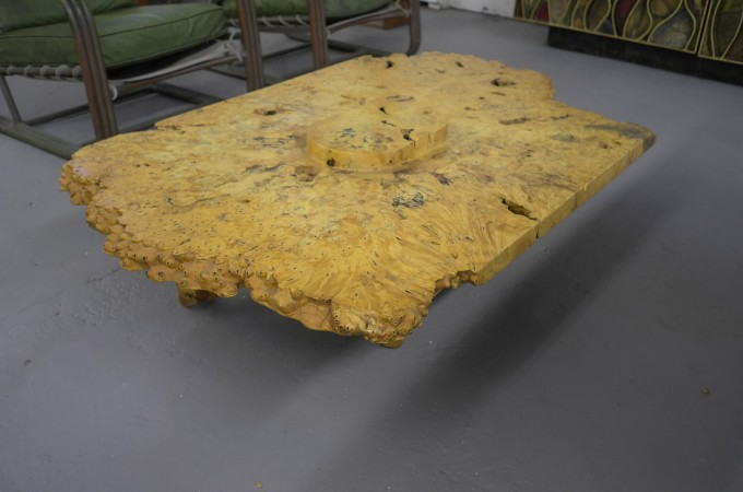 Not Nakashima, this is a burled maple coffee table by California designer J.B.Blunk—very coool