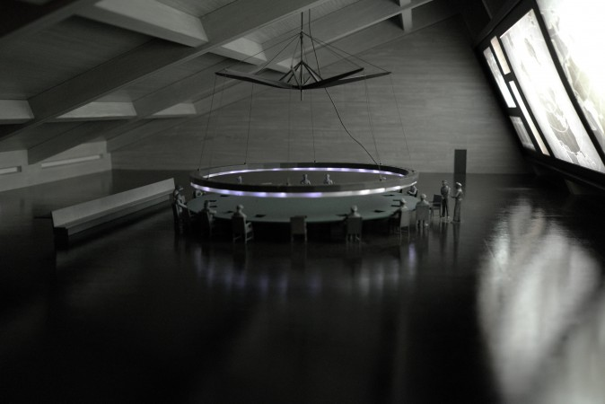 The maquette of the board room from Dr. Strangelove