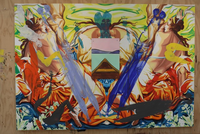 See the female bodies? The painting in the middle is not finalized