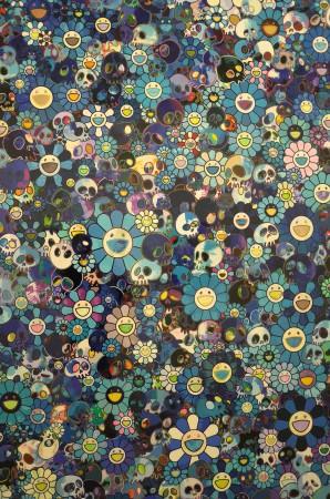 So, Murakami does Yves Klein blue in his skulls and smiley flowers, kinda nice!