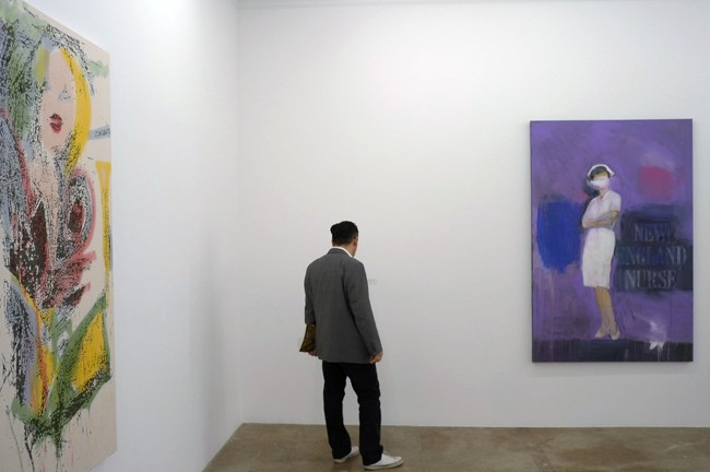 This hanging is too literal for me, Nate Lowman next to Richard Prince, it's too obvious, but they got nice work here…