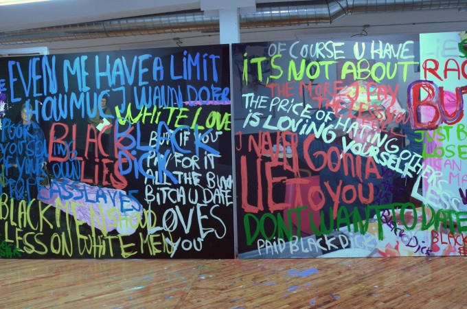 "Read the painting: ""The price of hating others is loving yourself less."""