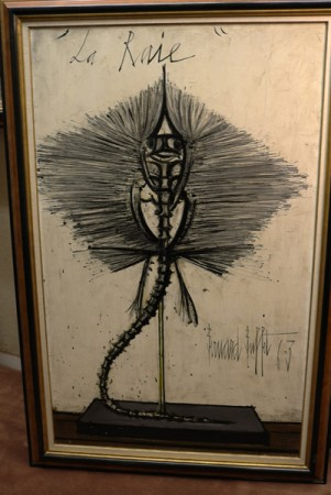 This beautiful painting of a ray skeleton is from the 60's