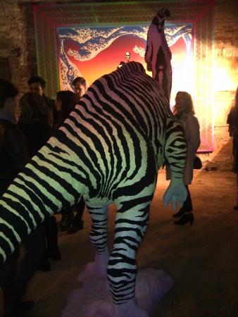 Dinosaur with panda striped rump