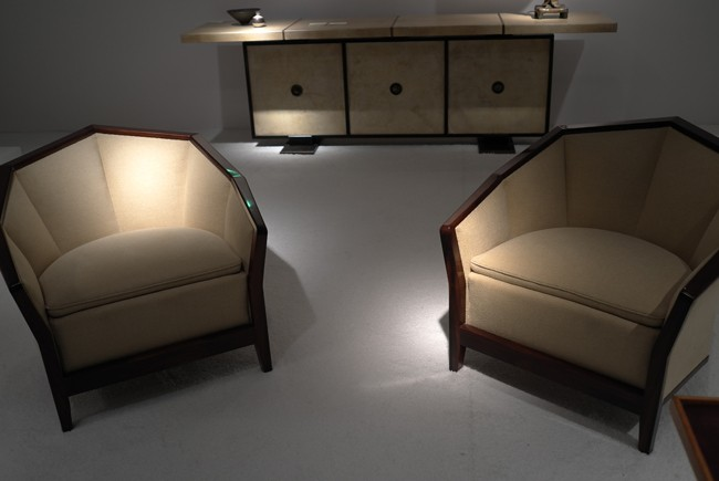 Pair of Chareau chairs at L'arc en Seine