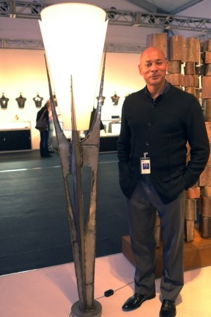 Magen H Gallery owner, Hugues Magen, with cool French lamp