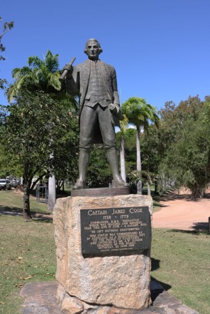 """There's ole captain cook himself in """"Cooktown"""""""