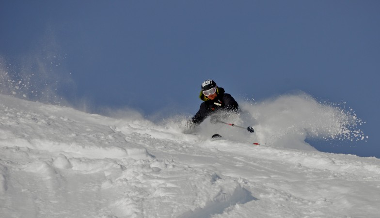 His brother Marc rips it Verbier style.