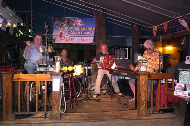 Time to party!!! These geezers at the Hog's Breath Saloon can really jam New Orleans style.