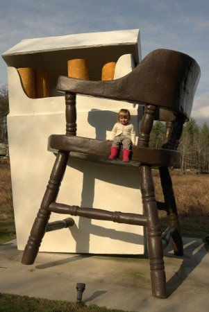 What idiot would sit a two-year-old child atop a twenty-foot sculpture?