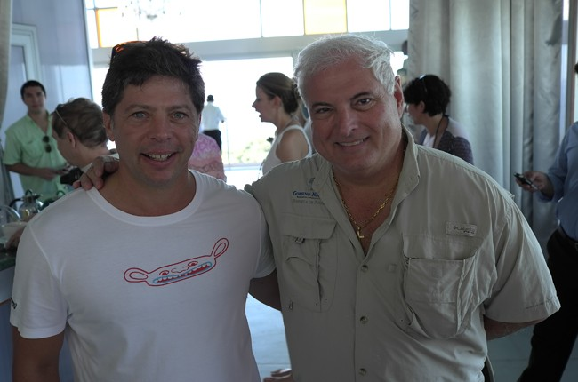 With the President of Panama, Ricardo Martinelli. Note the Limoland t-shirt.