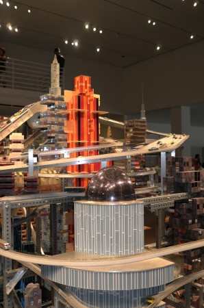 """Here's """"Metropolis II"""" the huge Erector Set–city-racetrack Burden has built. It was bought by Nicolas Berggruen and lent to LACMA for 10 years. It's pretty cool… and I took a movie of it"""
