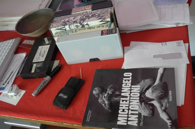 See his worktable, old videos and an Antonioni book, Richard has a new book with Taschen coming soon