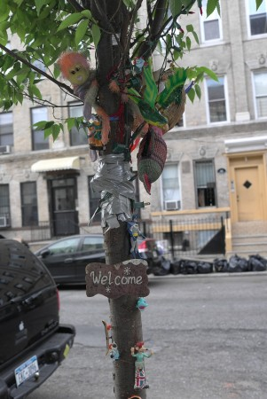 One of the best things I saw was this decorated tree in the street.