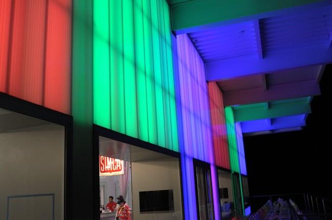 It lights up beautifully at night.