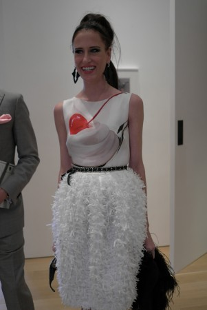 """This young lady in a Lisa Perry """"Koons""""dress fits right in"""