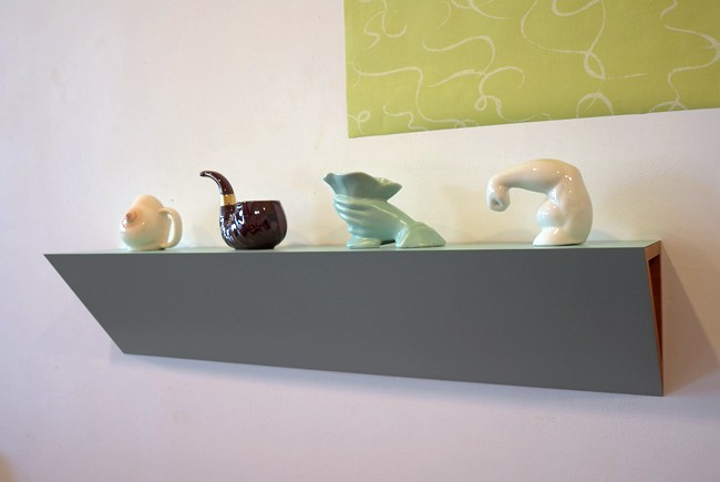 "Beautiful porcelain shelf: I'll call it ""Biceps and Breast"""