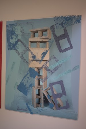 These works on paper are made using cinder blocks as stamps.