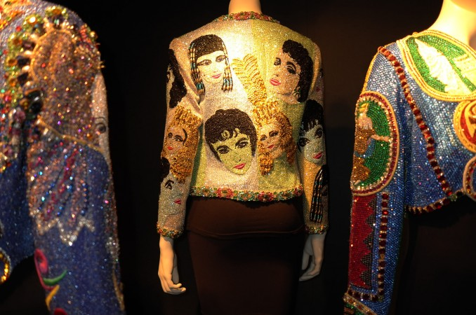 Liz on Liz, a beaded jacket with classic Liz heads from her movies, that's kitsch on kitsch… let's say it's kitschtastic.