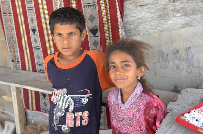 The only people we saw in the desert were these two kids.