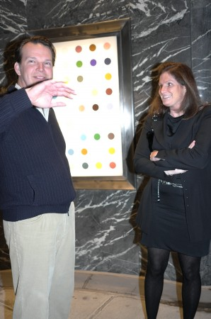 A lot of fancy people came to the NY opening. This guy just bought a huge spot painting, but he didn't want to be outed.