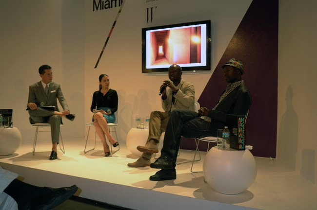 Hey there's David Adjaye himself giving a talk with Stefano Tonchi of W Mag and sexy artist Teresita Fernandez