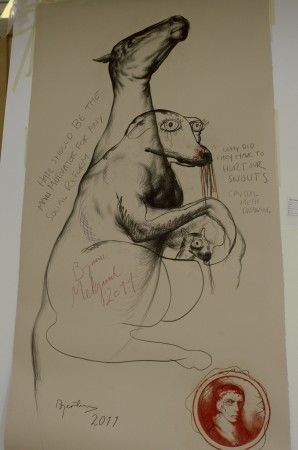 It's signed by both artists, what is it? Oh, I know, it's a marsupial on crystal meth morphing into a racehorse, of course!! Why didn't I see it immediately?!