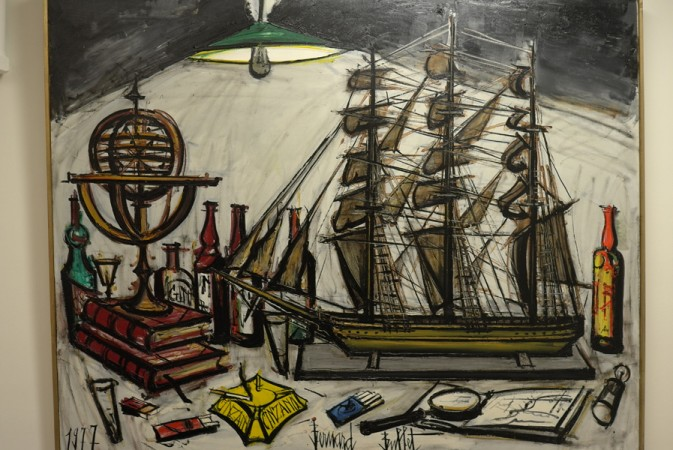 great still life with ship's model and gin bottle